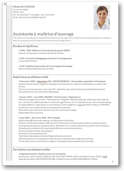 resume format  mod u00e8le cv une page