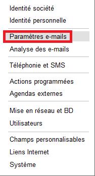 Paramètres e-mails